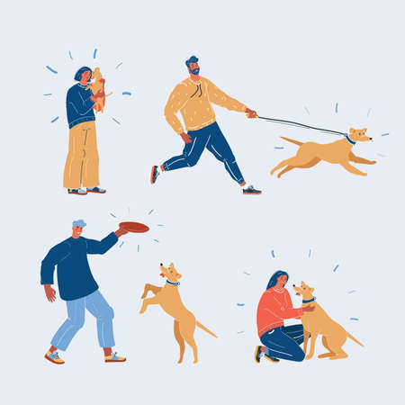 Vector illustration of people and dogs. Woman and man play, hug, walk, play and pet their dog. Character on white backround. Illusztráció