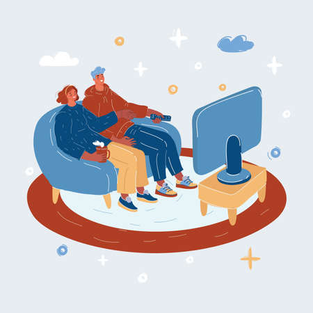 Vector illustration of Couple at home sitting on sofa and watching tv.