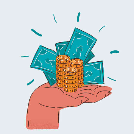 Vector illustration of Hand holding Banknotes and stack of coin on white backround.