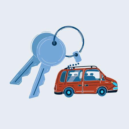 Vector illustration of Car key ring on white background. Illusztráció