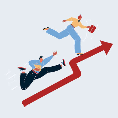 Vector illustration of rising finance graph and people run up. Man and woman compete in finance on white background