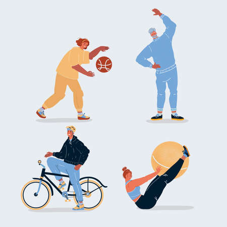 Vector illustration of sports people. Ride bike, doing exercise with ball, play basketball. Human character on white backround.