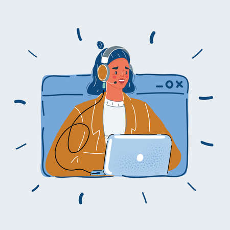 Vector illustration of User support service, woman in head phone and use laptop. Call center in browser windows on white backround.