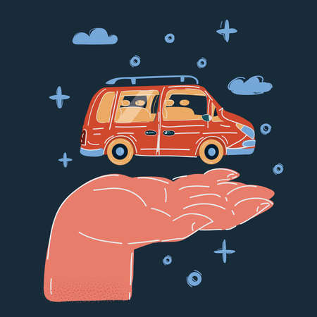 Vector illustration of small car in human hand on dark background Stock Illustratie