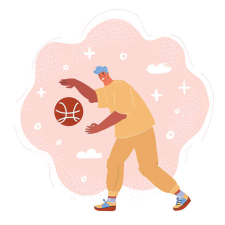 Vector illustration of man play basketball on pink