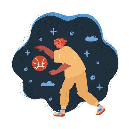 Vector illustration of woman play basketball on dark backround. Illusztráció