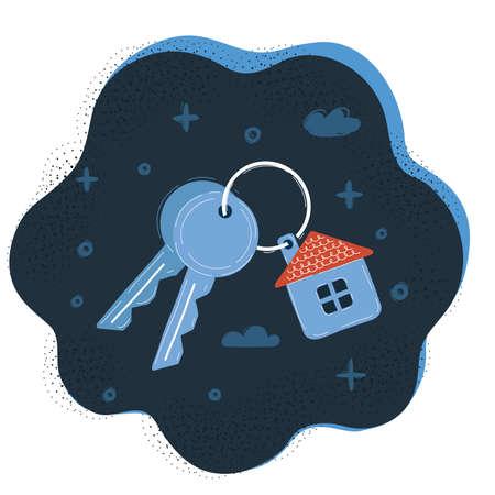 Vector illustration of house key on dark background.