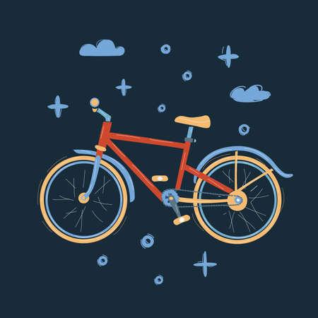 Vector illustration of bike on dark backround