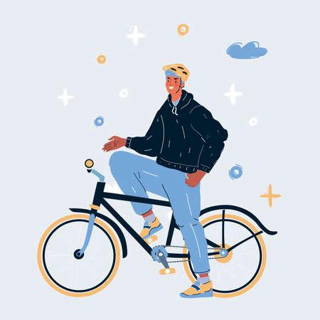 Vector illustration of man on a bike Illusztráció