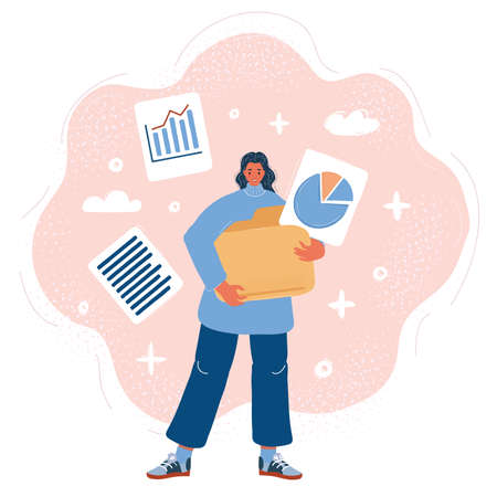 Vector illustration of woman Holds a big Folder with Files. 向量圖像