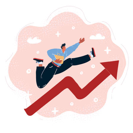 Vector illustration of professional businessman running up an business arrow which is growing