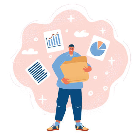 Vector illustration of man hold big document folder with files