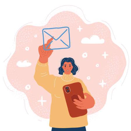 Vector illustration of Sending email. Push the envelope sign