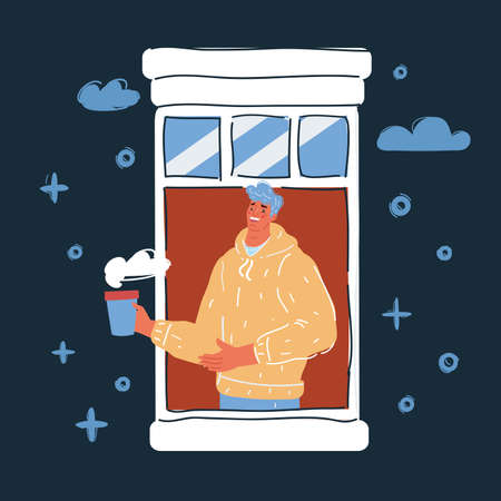 Vector illustration of Curious man with coffee looking outside window on dark