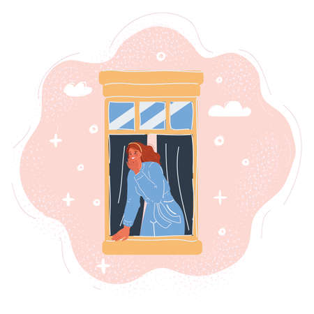 Vector illustration of woman look out window breathing fresh air Vettoriali
