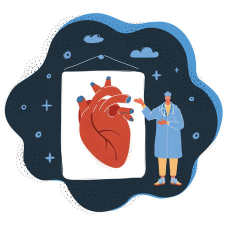 Vector illustration of doctor talk about healthy heart on dark backround.
