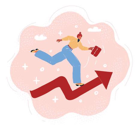 Vector illustration of woman run on red arrow