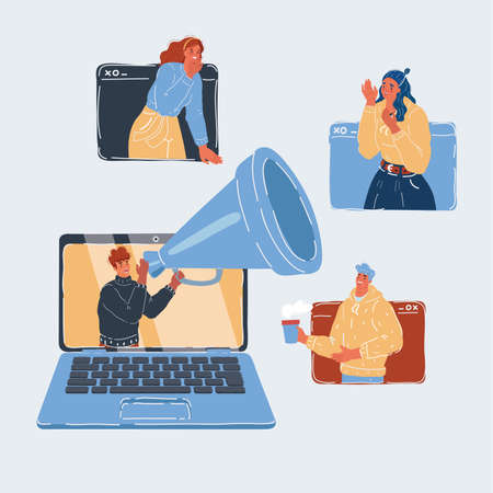 Vector illustration of people online conversation business partner using laptop, looking at screen with virtual web chat, contacting people, online conference, talking on webcam, online consultation. Иллюстрация