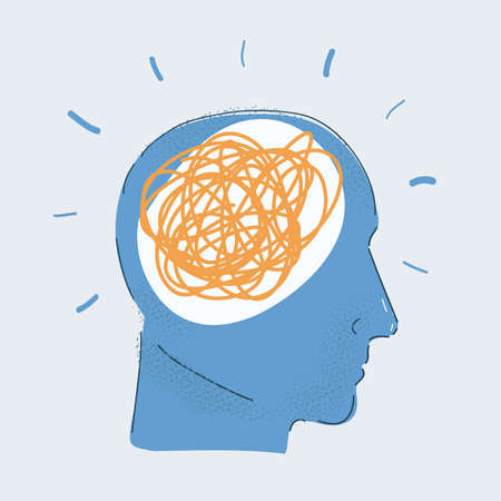 Vector illustration of human head with problems, confusion of thoughts on white.