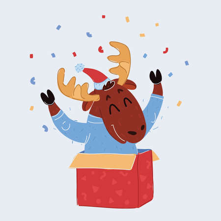 Vector illustration of Reindeer child sitting in Christmas gift box and celebration 向量圖像