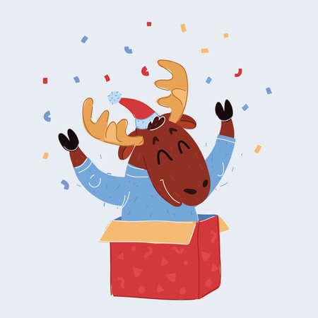 Vector illustration of Reindeer child sitting in Christmas gift box and celebration Иллюстрация