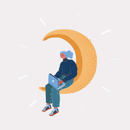 Vector illustration of lonely thoughtful woman sitting on the crescent moon and look at laptop on white backround. Иллюстрация