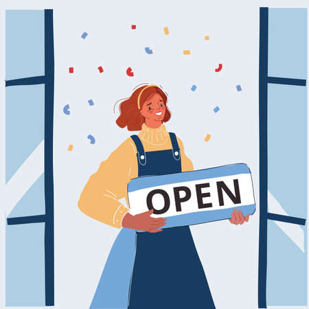 Vector illustration of Woman hold open sign in her hands. Small business Иллюстрация