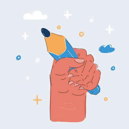 Vector illustration of hand hold Pencil Иллюстрация