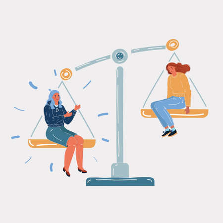 Vector illustration of two women on the scales. Balance symbol. Job, envious, jealousy, low self-esteem. Ð¡omparing herself to others person on white background. Иллюстрация