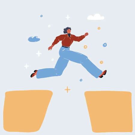 Vector illustration of young businesswoman jumping over gap Иллюстрация