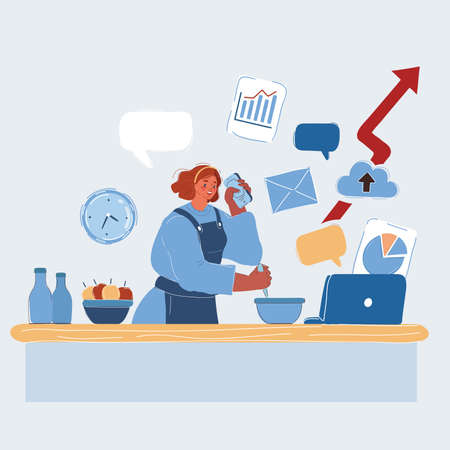 Vector illustration of woman cooking and working at the same time. Woman working at home. Multitask cosept