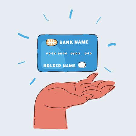 Vector illustration of online banking. Credit cart in human hand Иллюстрация
