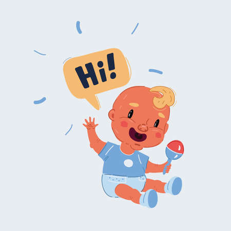 Vector illustration of Kid toddler say hello