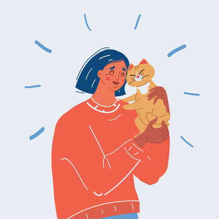 Vector illustration of Smiling woman playing with her cat pet her kitten.