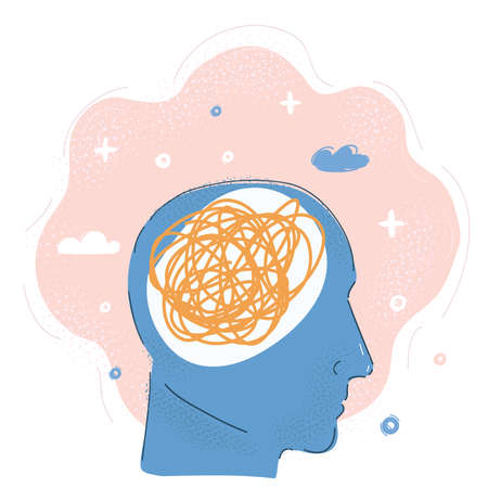 Vector illustration of The Human Mind. Man s head tangled up with threads of string - mental health concept.