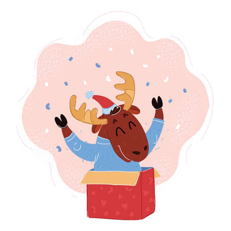 Vector illustration of christmas card with baby deer gift boxes