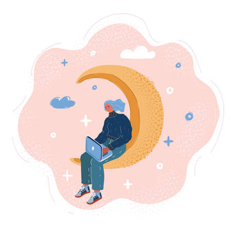 Vector illustration of Young woman working at laptop on crescent moon