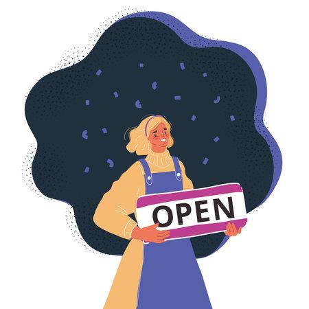 Vector illustration of woman hold Open sight on dark backround.