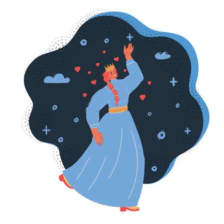 Vector illustration princess dancing at dark backround.