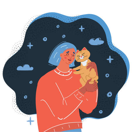 Cartoon vector illustration of Woman and cat hug each other.