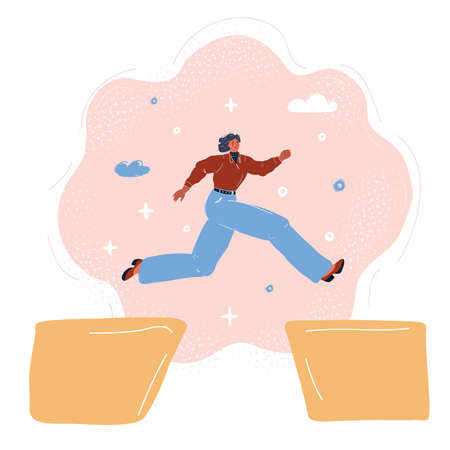 Cartoon vector illustration of young girl jumping over obstacles