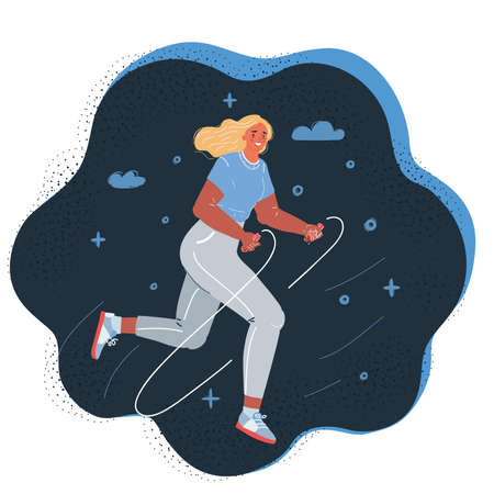 Cartoon vector illustration of young jumping rope
