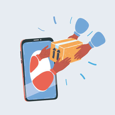 Cartoon vector illustration of delivery concept with hand put out boxes from smartphone on white backround.