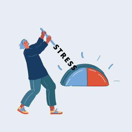Cartoon vector illustration of woman who stop her stress on white backround. 向量圖像