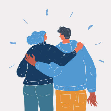 Vector illustration of Sweet partners hold each others in hands back view. Man and woman love each other 向量圖像
