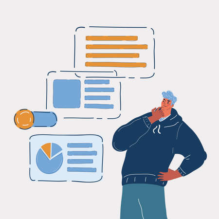 Vector illustration of man finding new ideas, search for new solutions. Develope of project