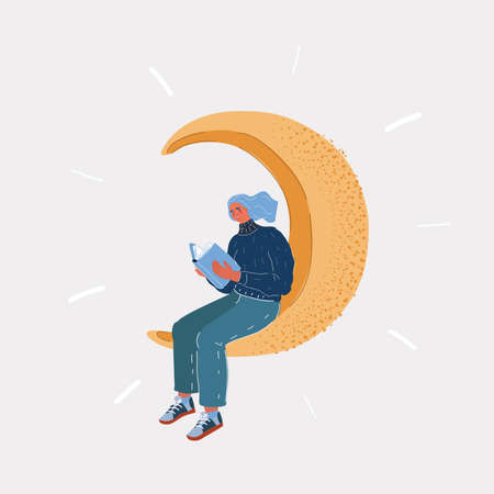 Vector illustration of woman, female reading book on white background. Dreamy woman sitting on the moon and reading. Human character on white backround. 向量圖像