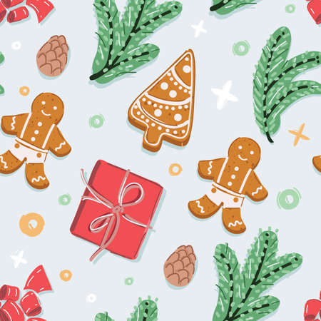 Vector illustration of Christmass seamless pattern. New Years branches, gingerbread cookies present box top view. 向量圖像