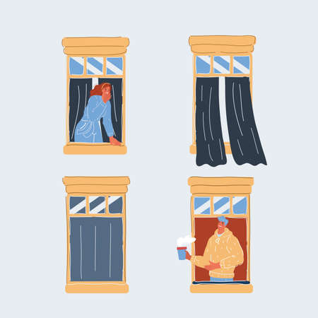 Vector illustration of People in open windows isolated on white. Men and women neighbours in window look out