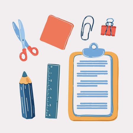Vector illustration of office tools set. Scissors, sticker pack, pencil, tablet, paper clip, paper holder, ruler 向量圖像